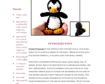 Intermediate Crochet Pattern: Penny Penguin Amigurumi Doll PDF using Worsted Weight, Medium Yarn - Designed by The Silver Hook