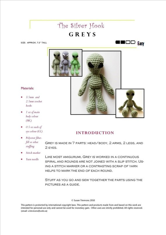 Easy Doll Crochet Pattern: Grey Alien Amigurumi inspired by Roswell Area 51, In Worsted Weight Yarn - Original Design by The Silver Hook