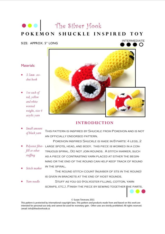 Amigurumi Pokemon Espanol : Intermediate Crochet Pattern: Pokemon Shuckle Inspired Toy