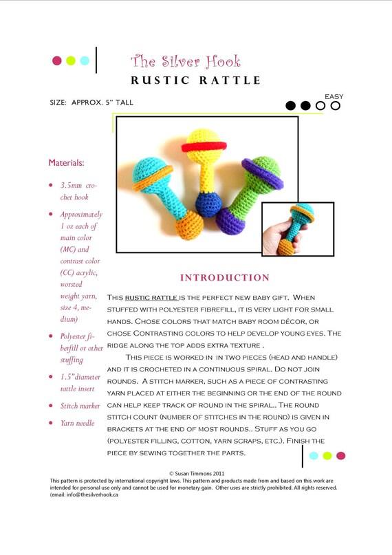 Easy Rattle Crochet Pattern: Rustic Rattle PDF Crochet Pattern for a Baby Size Yarn Rattle - Designed by The Silver Hook