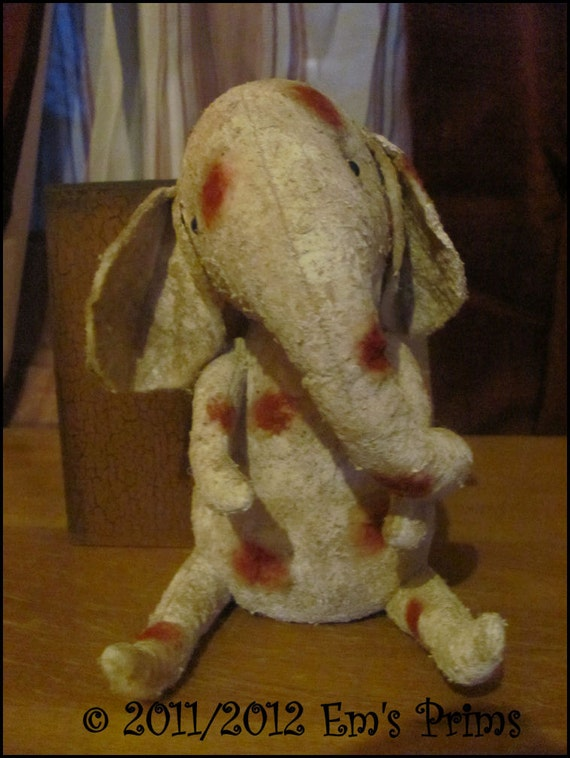 Primitive Polka dot Elephant doll Country decor (Made to order)