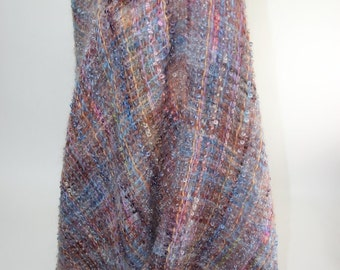 Handwoven Shawl, Cape, Poncho, I call it a Ponchshawl with Removable Felt Flower