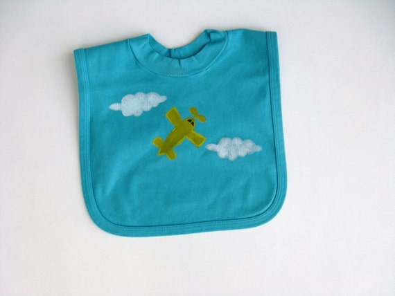 Boys Airplane Bib Hand Painted Cotton Baby or Toddler Pullover