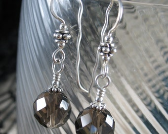Gemstone Earrings ~ Smoky Quartz & Sterling Silver Handmade Earrings ~ Drop Earrings