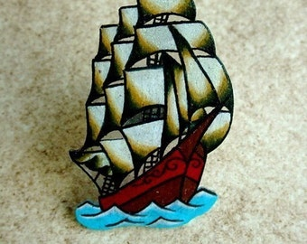 Pirate ship traditional tattoo flash large cocktail ring