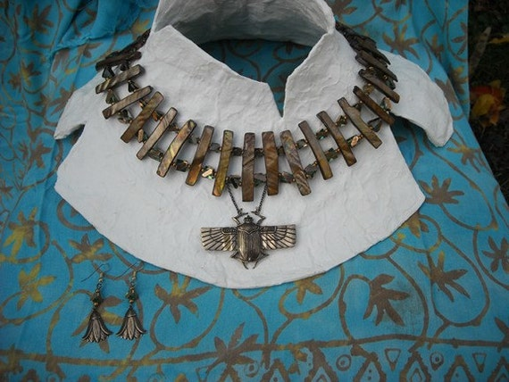 OOAK Flying Scarab Necklace with matching Earrings