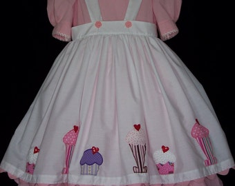 Girls White Apron/Pinafore with Sundae Appliques