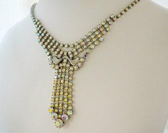 Vintage .. Bib Necklace, Clear AB Rhinestones, Waterfall Statement Wedding Bride Bridal