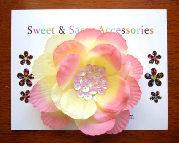 Blush Rose - Sparkling Sequin Blossom Clip