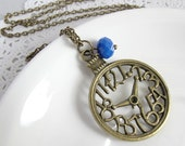 Turn Back Time. Clock with Blue Crystal Glass Necklace. whimsical gift for her.