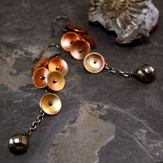 Copper and Silver Petal Earrings with Pyrite