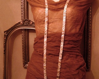 SEPIA - Long Flapper Vintage Button Necklace of Earth Tone Mother of Pearl