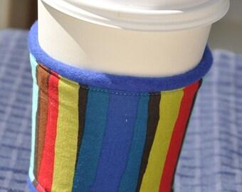 Retro Stripe Coffee OR Tea Cozy with Royal Blue Fleece