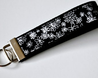 Black and White Whimsy Flower Fabric Keychain/Wristlet. Heavy Duty Cotton Webbing.