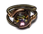 Steampunk Jewelry - RING - Volcano Swarovski Crystal