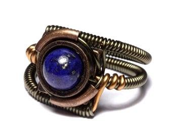 Steampunk Jewelry - Ring - Lapis Lazuli