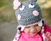 Girl's Hippo Earflap - Henrietta Animal Hat - All Sizes Available - Newborn to Adult