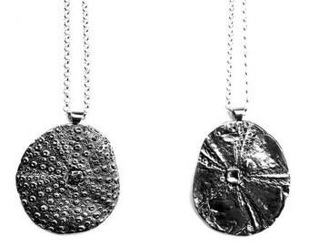 Sea Urchin Necklace Silver pendant Sand dollar