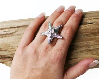 Star Fish Ring Rose Silver