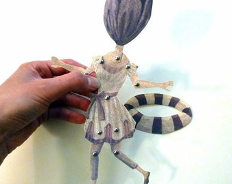 DIY Tulip Paper Doll Set Printable PDF for Mom, Girlfriends, Paper Play Flower Head, Purple Victorian Swim Suit