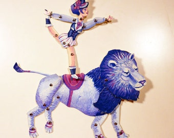 DIY Lion Circus Animal Paper Puppet Doll Set for Circus Party Decor Paper Play