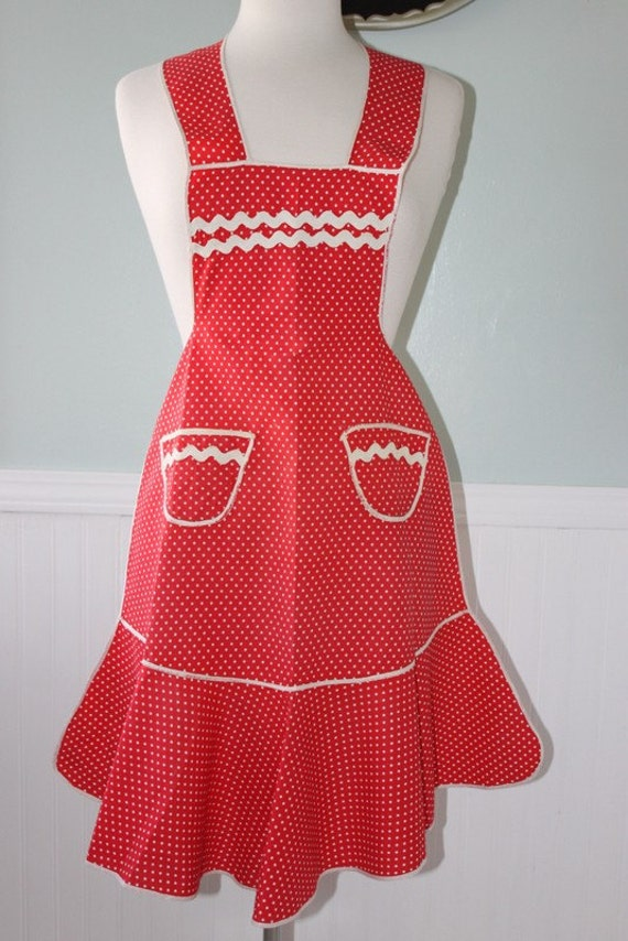 Vintage Red Apron with White Polka Dots