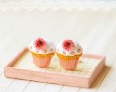 Food Jewelry - Cupcake Earrings Post - Romantic Pink Cupcake Earrings with Gerbera Daisies