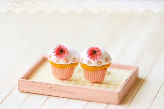 Food Jewelry - Cupcake Earrings Post - Romantic Pink Cupcake Earrings with Gerbera Daisies
