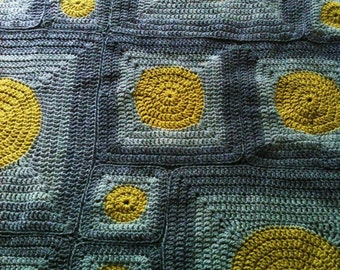 Lime and Grey Polka Dot Crocheted Throw Blanket