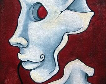 Acrylic Painting 'Rubis', Original, 6x12