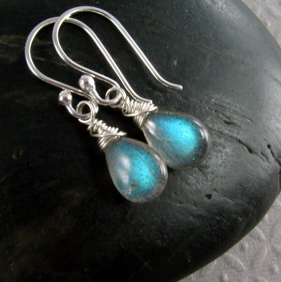 Blue Labradorite and Sterling Silver Briolette Earrings