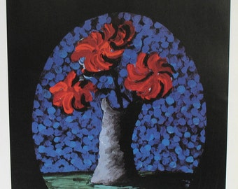 Red Flowers Blue Vase Book Plate - Exhibit Poster Art Print - ICA London ART for EQUALITY - Domestic Violence Fundraiser Event Ad - Hockney