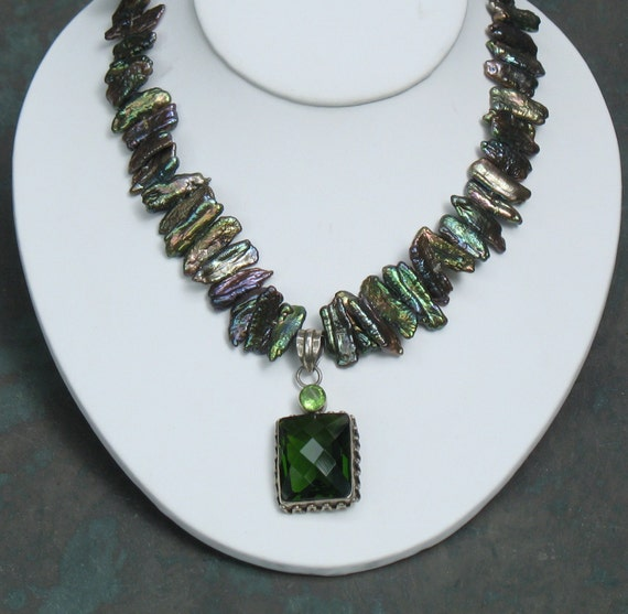Iridescent Peacock Pearl Necklace - Sterling Pendant GREEN QUARTZ - Stick Pearls - Handmade