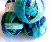 Red Heart Sashay yarn, TWIST, Flamenco yarn,  ruffling scarf yarn,  super bulky weight,  beach blue green