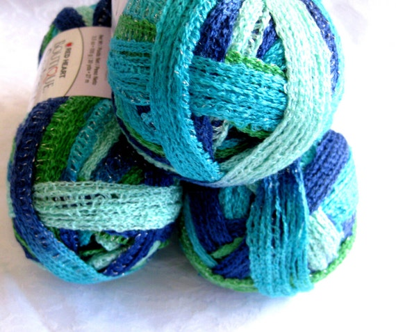 Red Heart Sashay yarn, TWIST, Flamenco yarn,  ruffling scarf yarn,  super bulky weight,  beach blue green