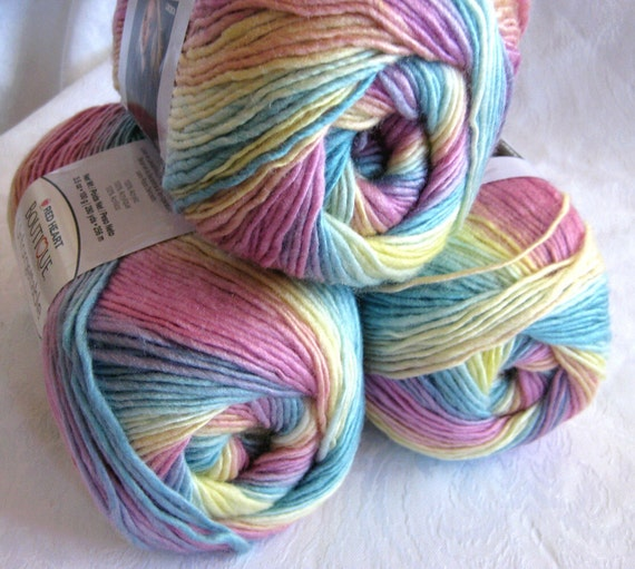 Boutique Unforgettable yarn CANDIED, worsted weight, Red Heart Boutique,  candy floss shades of pastel pinks, yellows, greens, blues