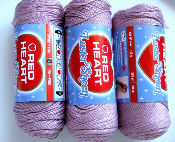 Red Heart LusterSheen yarn, Light Mulberry, fine weight, discontinued colour, mauve, Luster Sheen