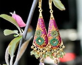 Peridot,sparkly rose quartz  and Clay Floral earrings in 24k bali vermeil and gold fill -  Bougainvillea Arbor