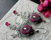 Rubellite and Mystic white sapphire Quartz gemstone cluster earrings in antiqued silver flower and bali sterling silver - Raspberry Clouds