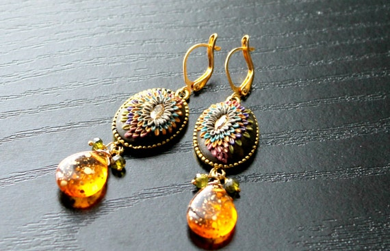 Peridot cz earrings with Fiery gold speckled czech glass and clay details in gold fill earrings - Autumn Fire