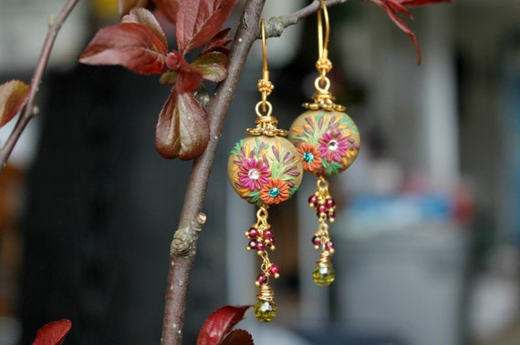Peridot CZ briolettes, garnet gemstones with Clay details 24k vermeil earrings - A Perfect day of Spring
