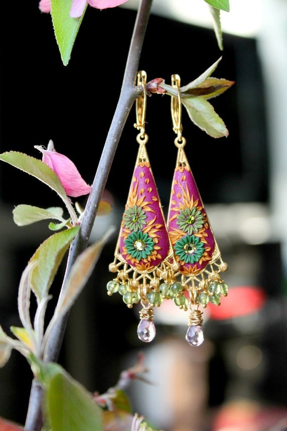 Pink Sapphire , Peridot and Clay Floral earrings in 24k bali vermeil and gold fill -  Bougainvillea Arbor