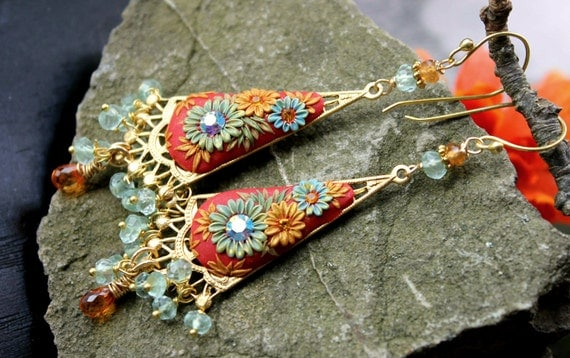 Padparadscha sapphire, prehnite,mandarin garnet with brass filigree, floral clay detailed earrings in goldfill and vermeil - Oriental Bazaa