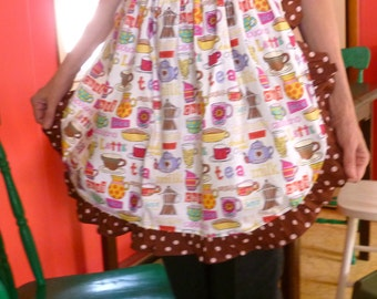 Tea and Coffee Apron Apron w Ruffles and Polka Dots Designer Fabric Quality Handmade
