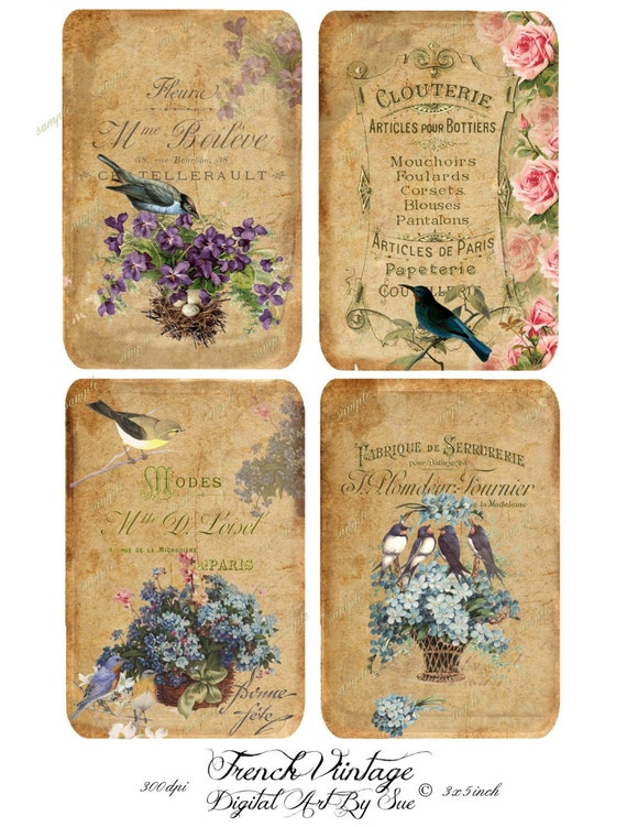 French Vintage - 3x5 - Printable  Digital Collage Sheet - Down Load Images - Tags