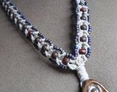 Goddess Macrame Hemp Necklace - Venus Clay Wood Glass - Natural Bohemian
