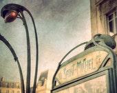 Paris Photography, Paris Metro decor, Paris wall decor, Mint green, Paris Saint Michel, Paris Metro Photo, Paris station, Subway sign