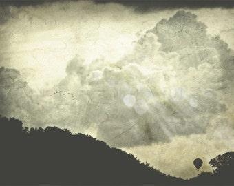 Hot Air Balloon, french photo art,clouds print,travel decor,air balloon decor,air balloon print,balloon print,travel prints