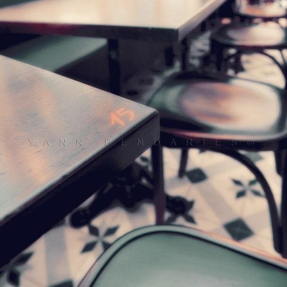 Paris photography, Parisian Cafe tables print, Paris cafe Photo, Cafe photo, coffee art, Brown Rustic Decor, parisian life
