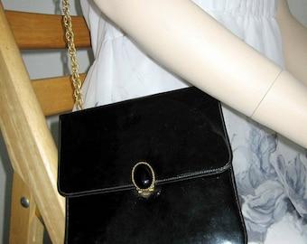 Vintage Patent Handbag Black Retro Square Gold Purse Long Chain Shoulder Strap San Diego California USA